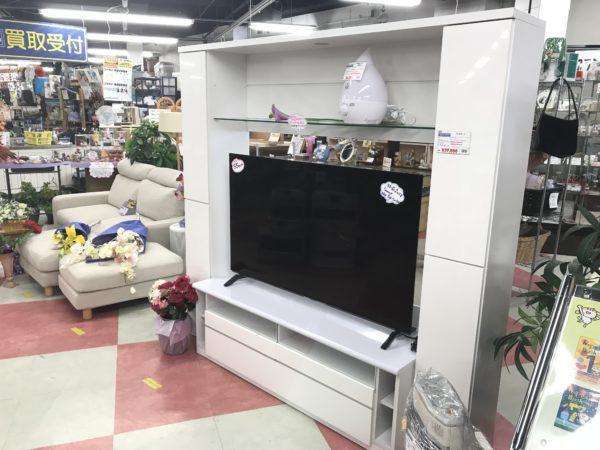 収納付き大型テレビ台 白
